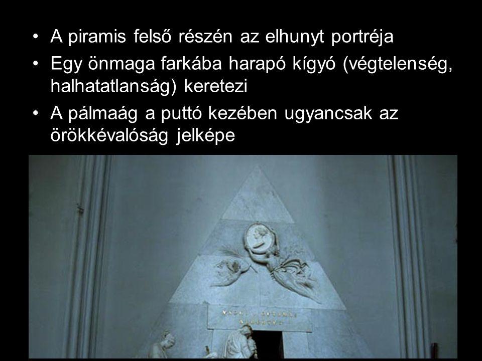A piramis felső részén az elhunyt portréja