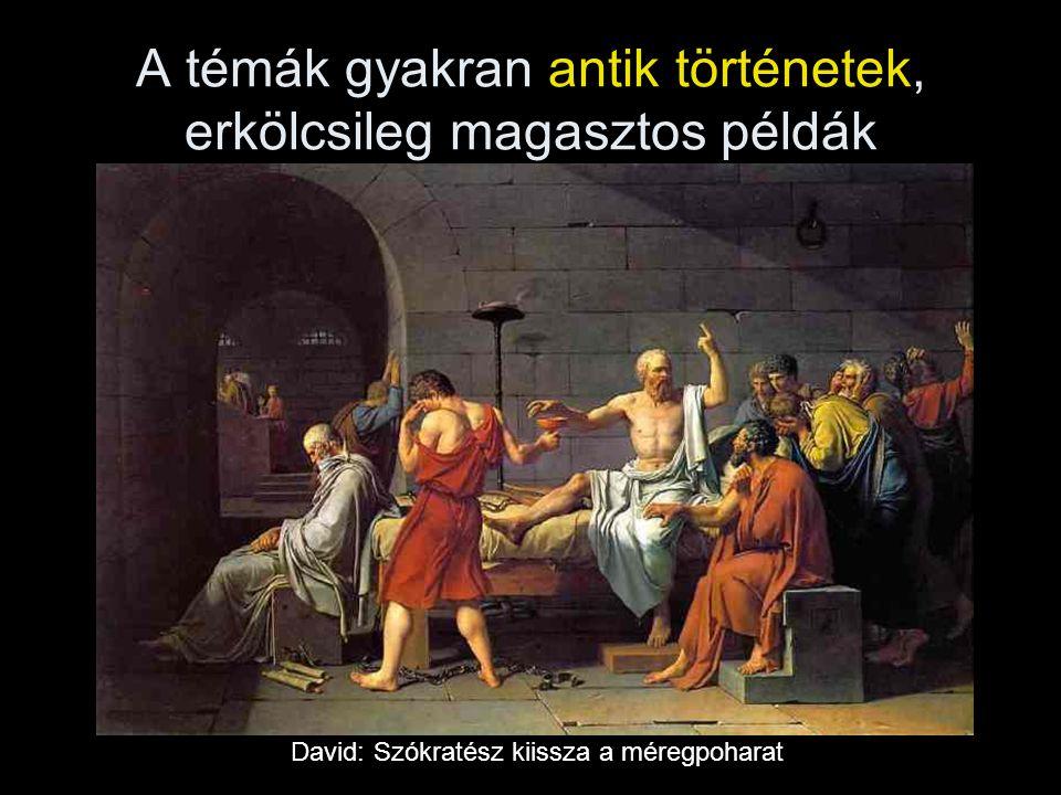 A témák gyakran antik történetek, erkölcsileg magasztos példák