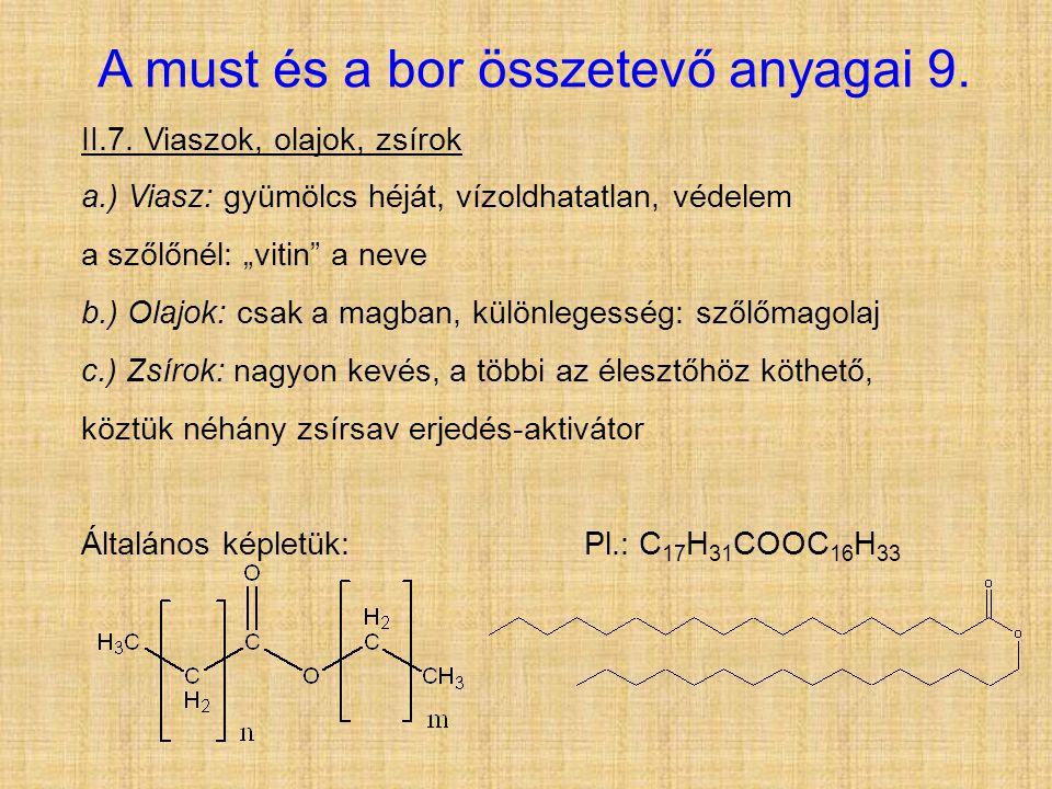 A must és a bor összetevő anyagai 9.