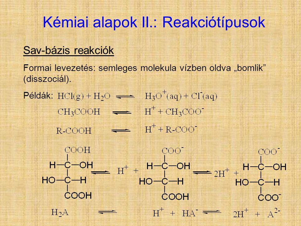 Kémiai alapok II.: Reakciótípusok