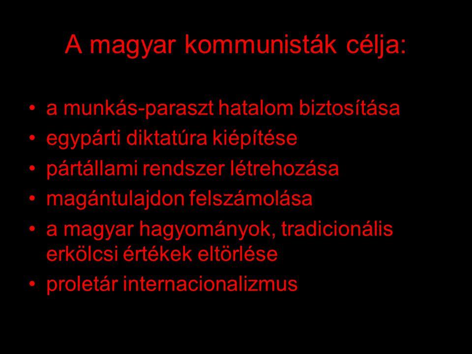 A magyar kommunisták célja: