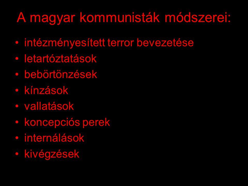 A magyar kommunisták módszerei: