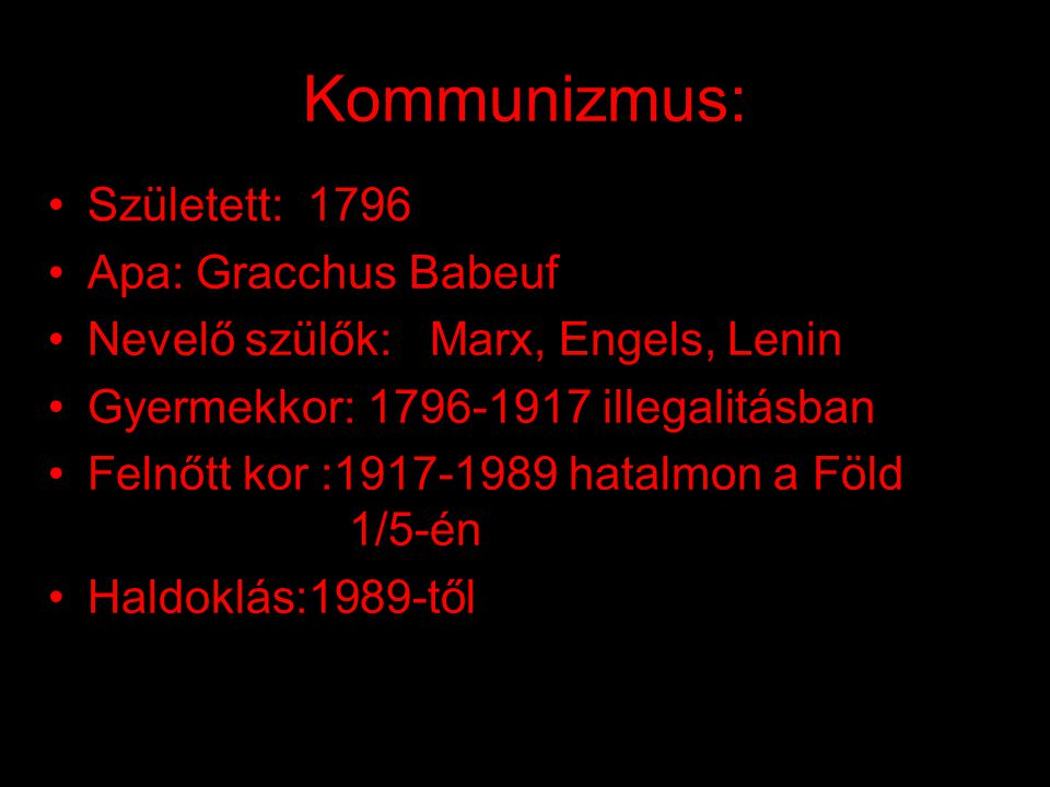 Kommunizmus: Született: 1796 Apa: Gracchus Babeuf