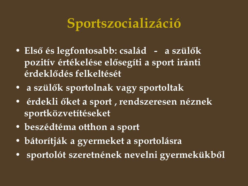 Sportszocializáció Első és legfontosabb: család - a szülők pozitív értékelése elősegíti a sport iránti érdeklődés felkeltését.