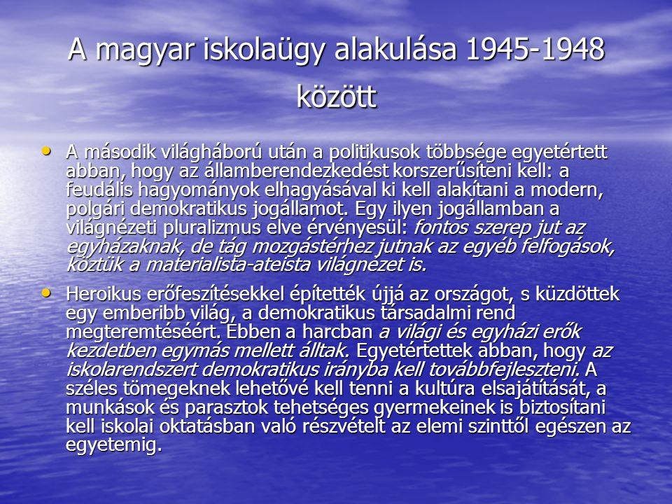 A magyar iskolaügy alakulása 1945-1948 között