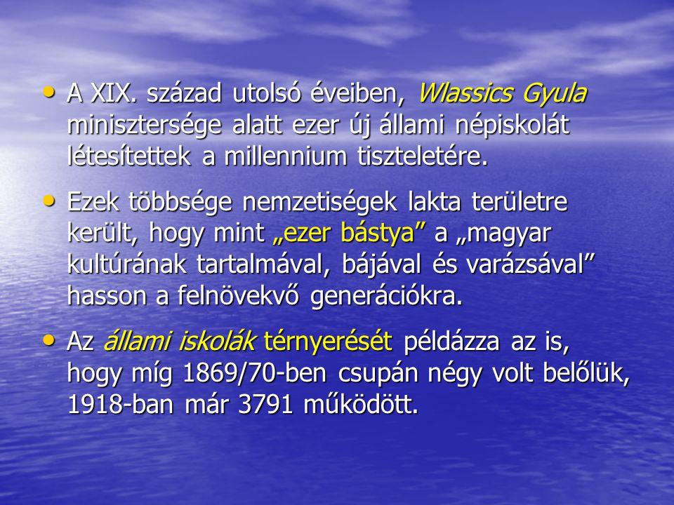 A XIX. század utolsó éveiben, Wlassics Gyula minisztersége alatt ezer új állami népiskolát létesítettek a millennium tiszteletére.