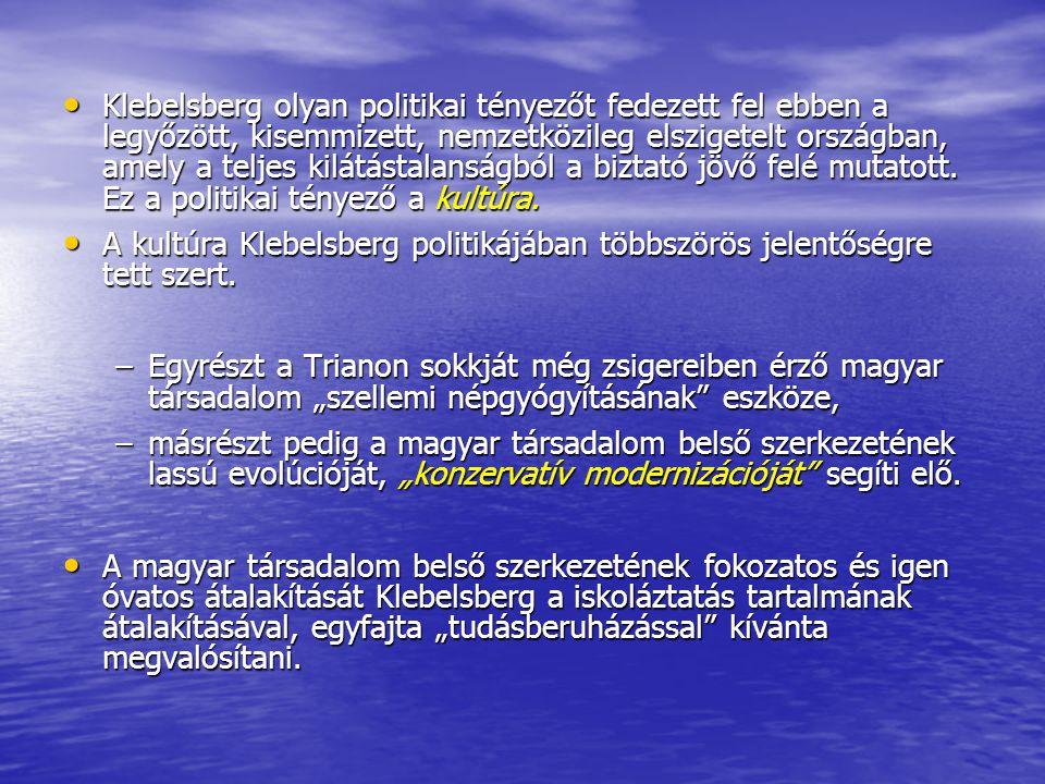 Klebelsberg olyan politikai tényezőt fedezett fel ebben a legyőzött, kisemmizett, nemzetközileg elszigetelt országban, amely a teljes kilátástalanságból a biztató jövő felé mutatott. Ez a politikai tényező a kultúra.