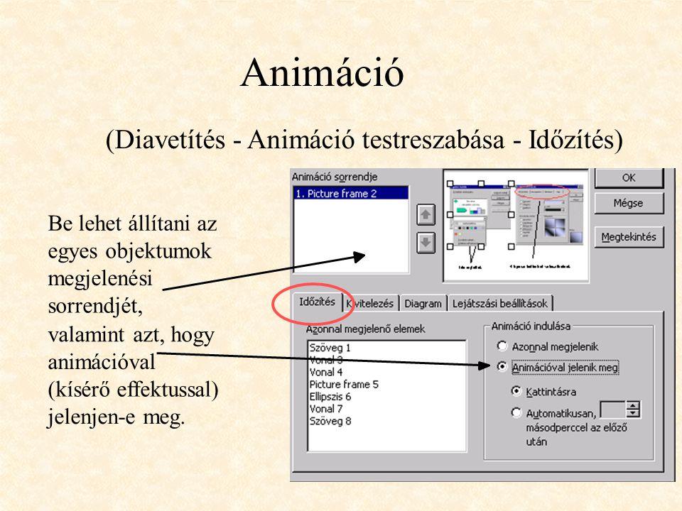 Animáció (Diavetítés - Animáció testreszabása - Időzítés)