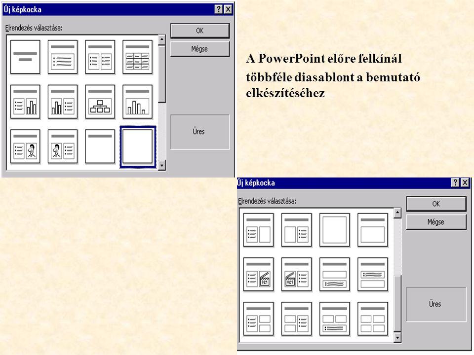 A PowerPoint előre felkínál