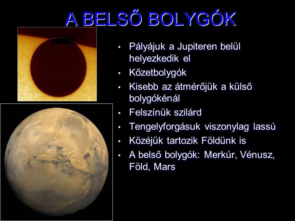 A BELSŐ BOLYGÓK Pályájuk a Jupiteren belül helyezkedik el Kőzetbolygók