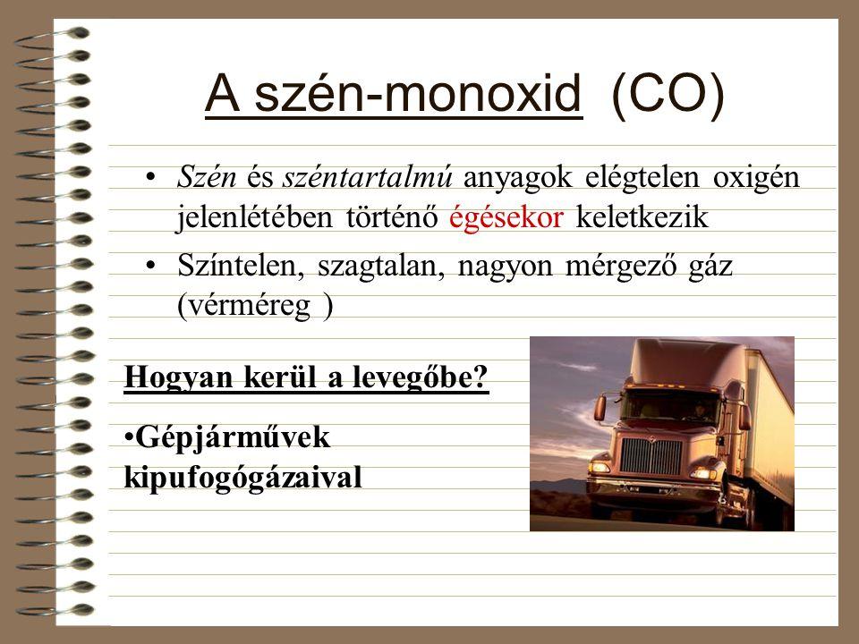 A szén-monoxid (CO) Szén és széntartalmú anyagok elégtelen oxigén jelenlétében történő égésekor keletkezik.