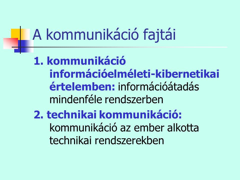 A kommunikáció fajtái 1. kommunikáció információelméleti-kibernetikai értelemben: információátadás mindenféle rendszerben.