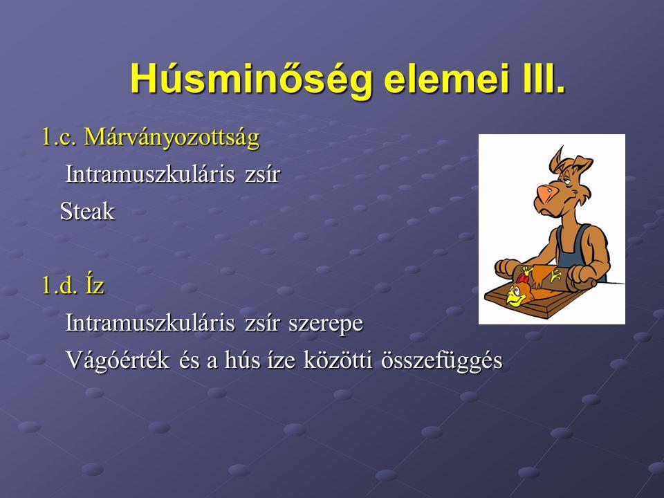 Húsminőség elemei III. 1.c. Márványozottság Intramuszkuláris zsír