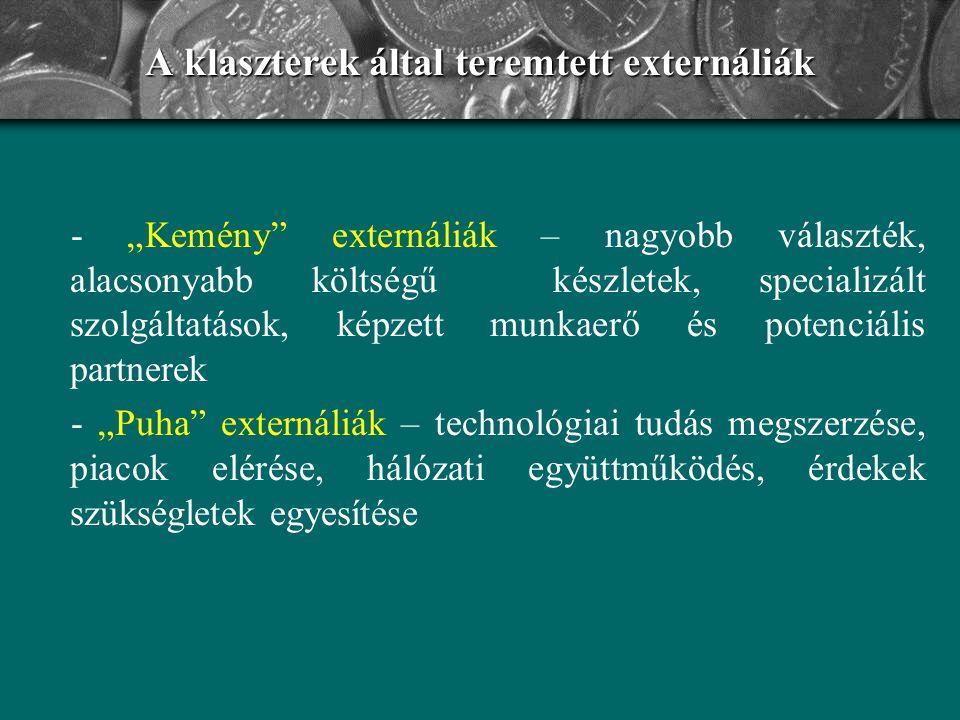 A klaszterek által teremtett externáliák