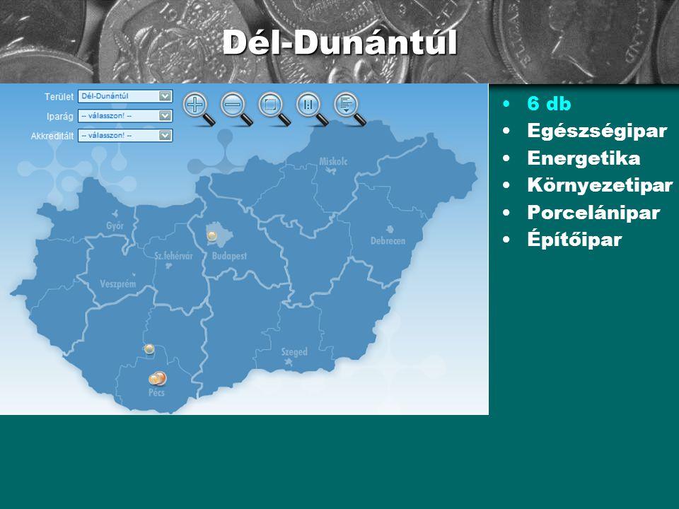 Dél-Dunántúl 6 db Egészségipar Energetika Környezetipar Porcelánipar