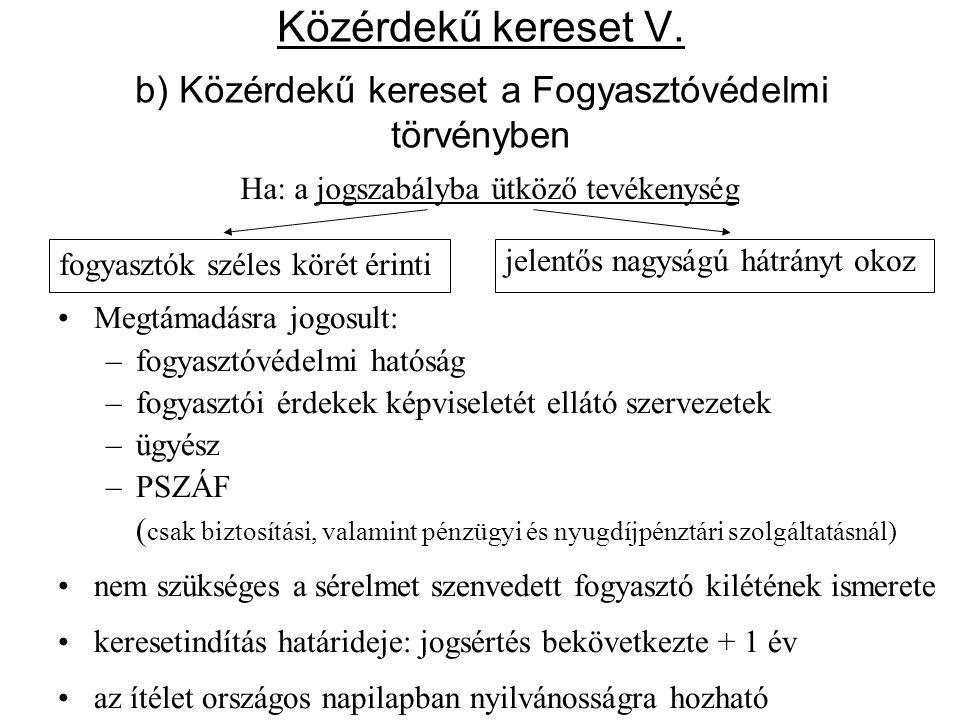 Közérdekű kereset V. b) Közérdekű kereset a Fogyasztóvédelmi törvényben