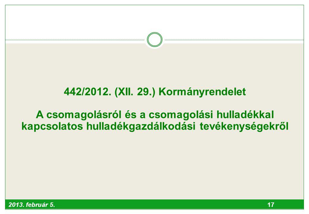 442/2012. (XII. 29.) Kormányrendelet