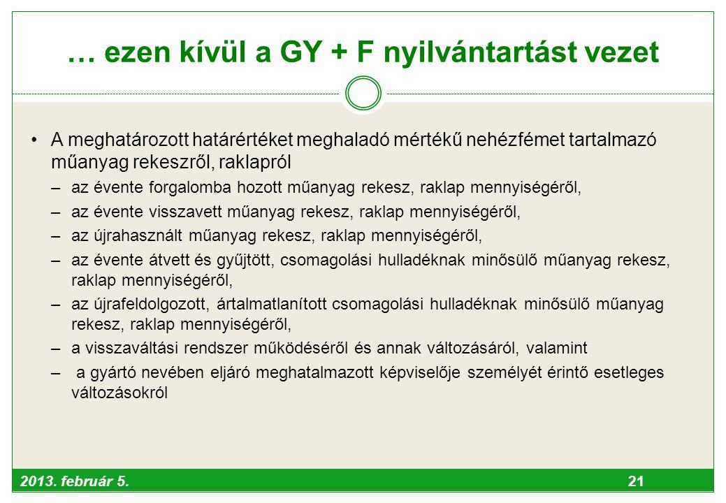 … ezen kívül a GY + F nyilvántartást vezet