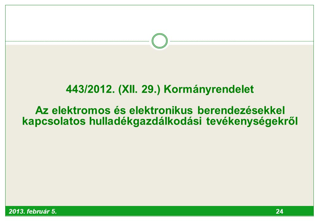 443/2012. (XII. 29.) Kormányrendelet