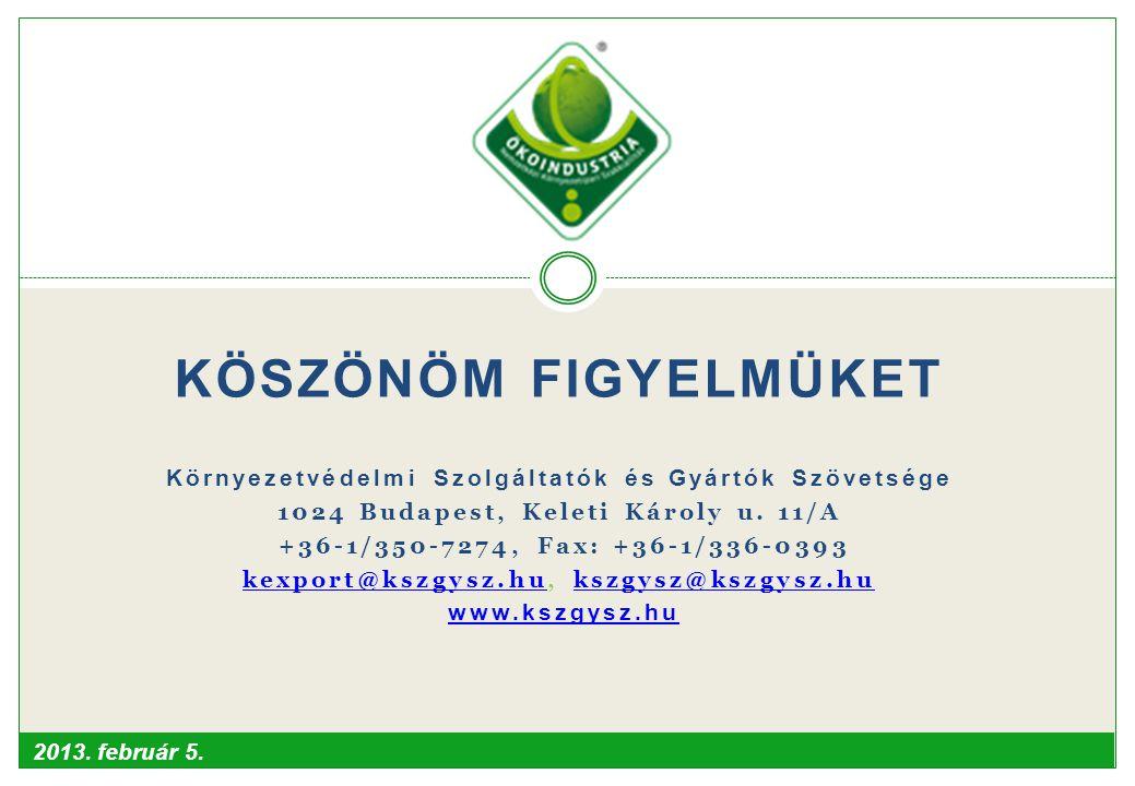 KÖSZÖNÖM FIGYELMÜKET Környezetvédelmi Szolgáltatók és Gyártók Szövetsége. 1024 Budapest, Keleti Károly u. 11/A.