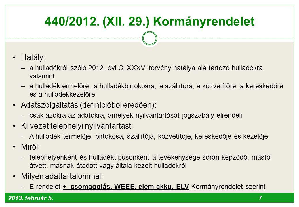 440/2012. (XII. 29.) Kormányrendelet