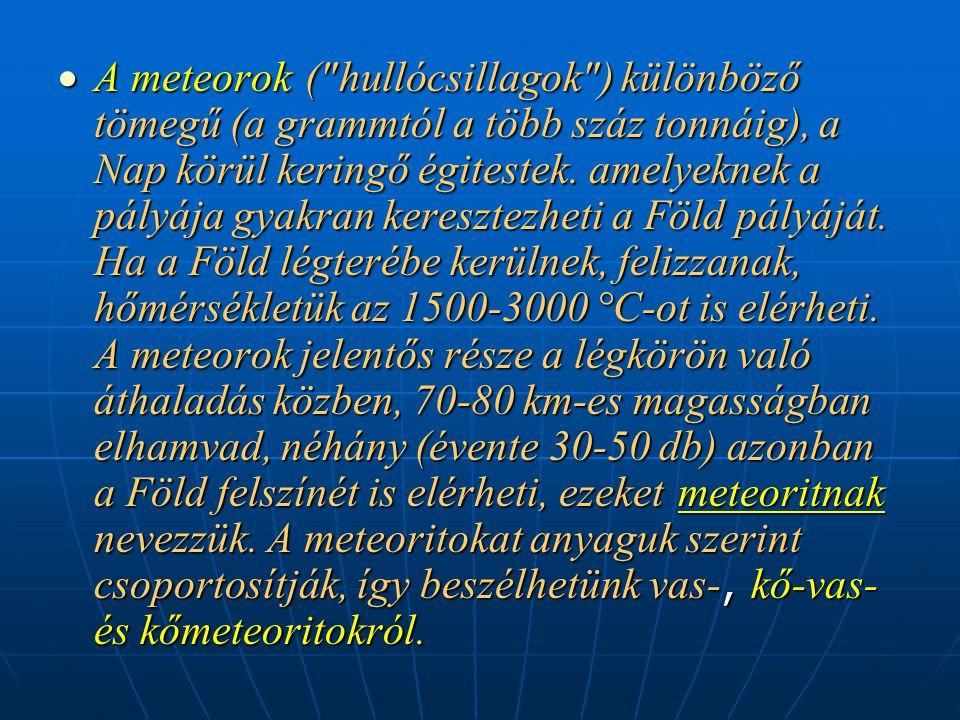 A meteorok ( hullócsillagok ) különböző tömegű (a grammtól a több száz tonnáig), a Nap körül keringő égitestek.