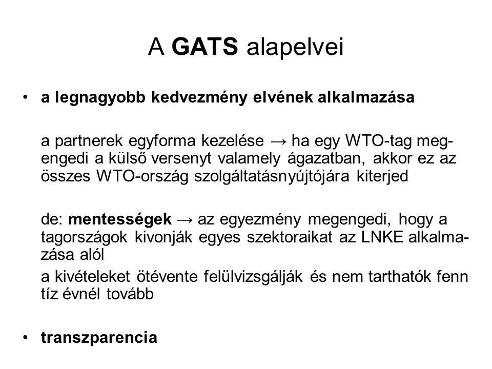 A GATS alapelvei a legnagyobb kedvezmény elvének alkalmazása