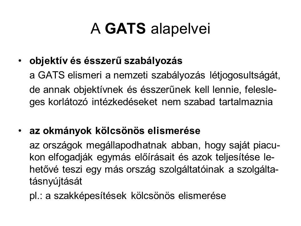A GATS alapelvei objektív és ésszerű szabályozás