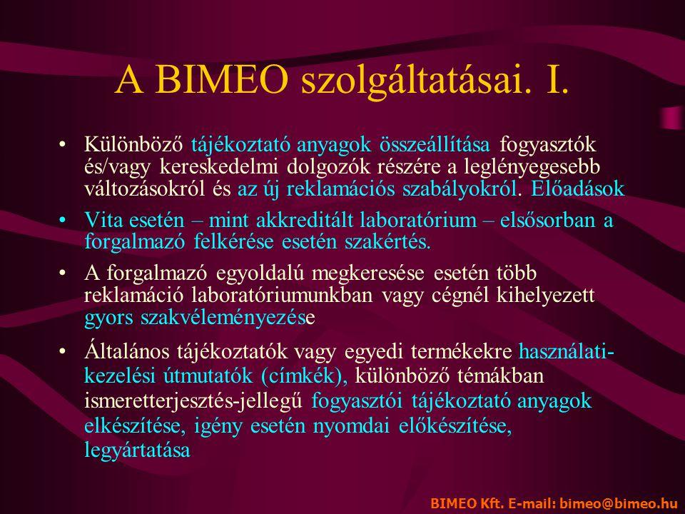 A BIMEO szolgáltatásai. I.