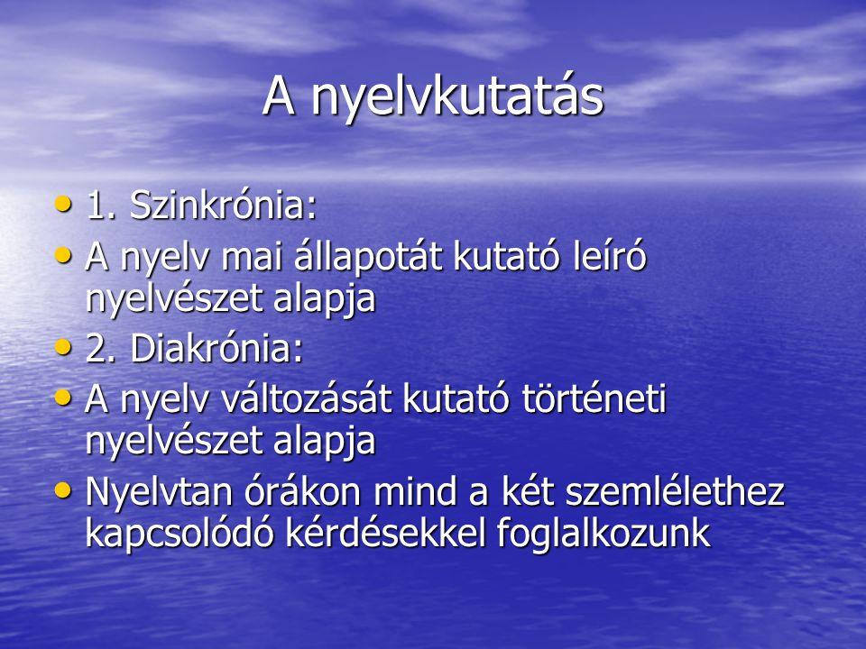 A nyelvkutatás 1. Szinkrónia: