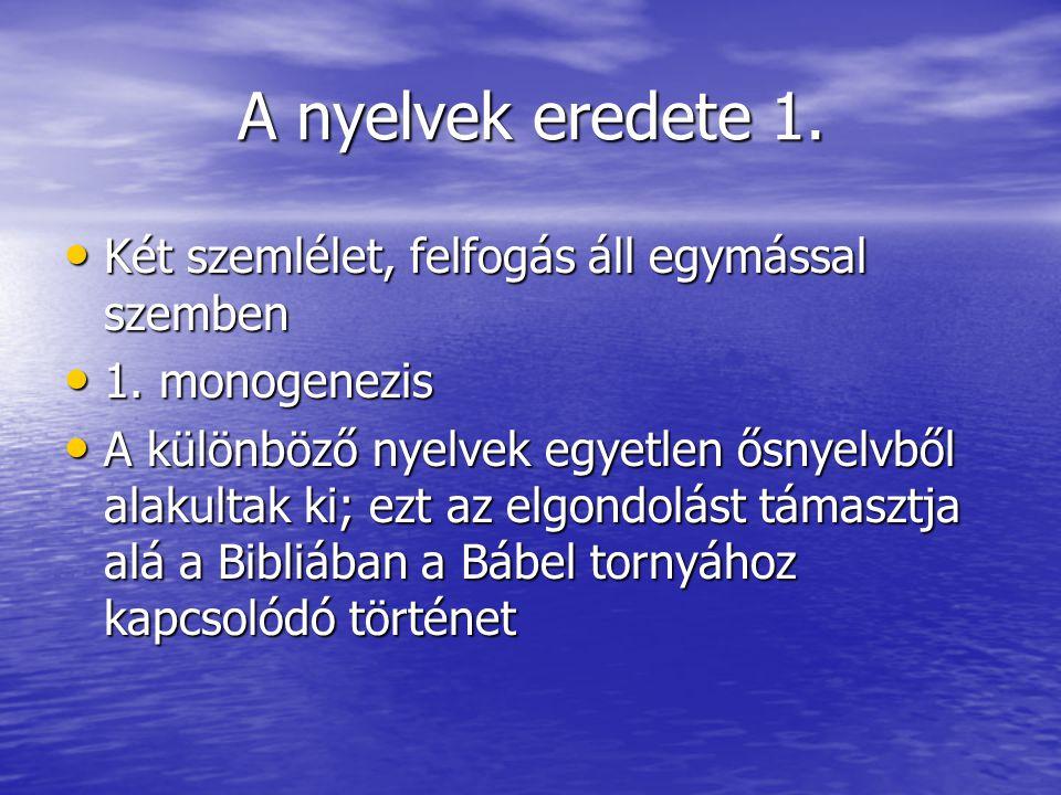 A nyelvek eredete 1. Két szemlélet, felfogás áll egymással szemben