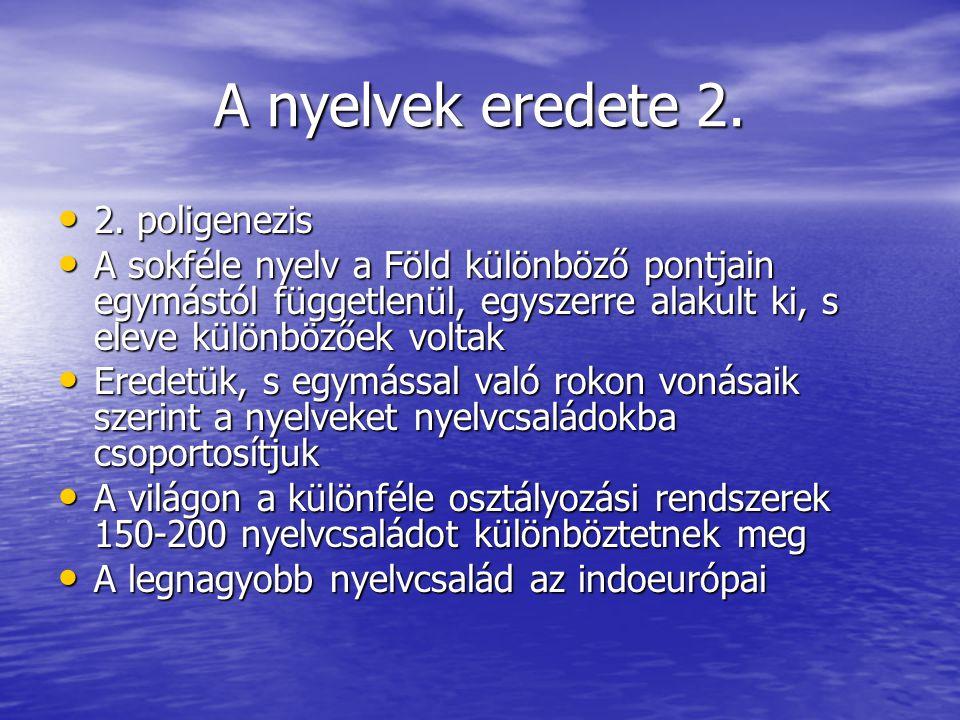 A nyelvek eredete 2. 2. poligenezis