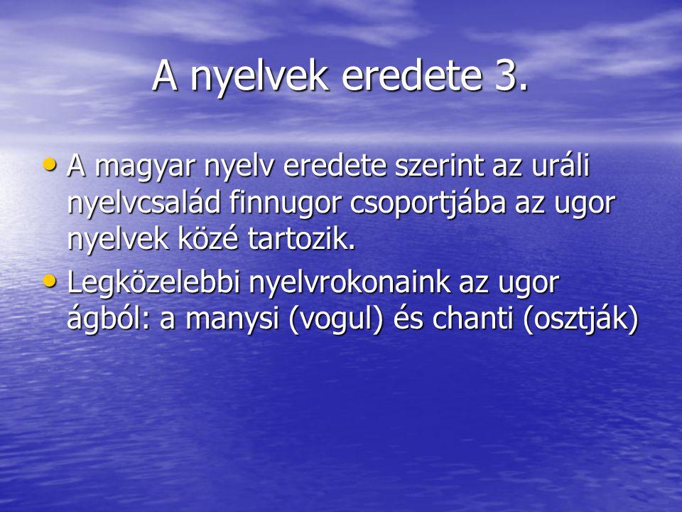 A nyelvek eredete 3. A magyar nyelv eredete szerint az uráli nyelvcsalád finnugor csoportjába az ugor nyelvek közé tartozik.