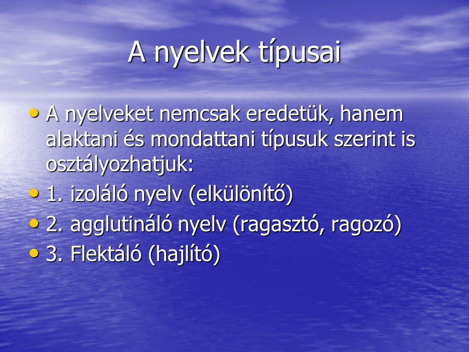 A nyelvek típusai A nyelveket nemcsak eredetük, hanem alaktani és mondattani típusuk szerint is osztályozhatjuk:
