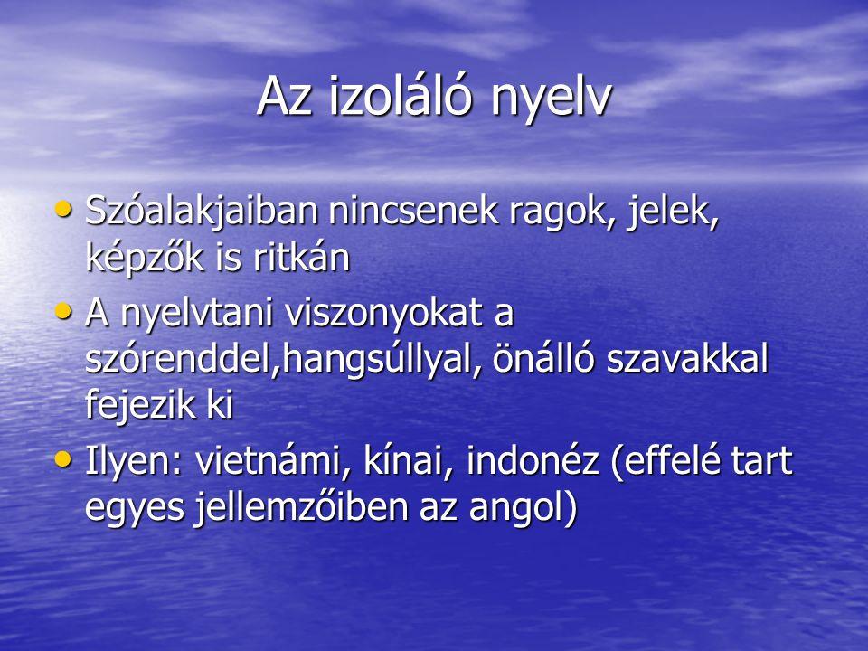 Az izoláló nyelv Szóalakjaiban nincsenek ragok, jelek, képzők is ritkán.