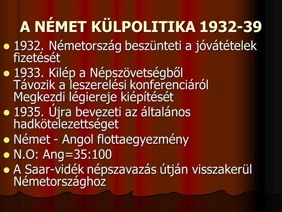 A NÉMET KÜLPOLITIKA 1932-39 1932. Németország beszünteti a jóvátételek fizetését.