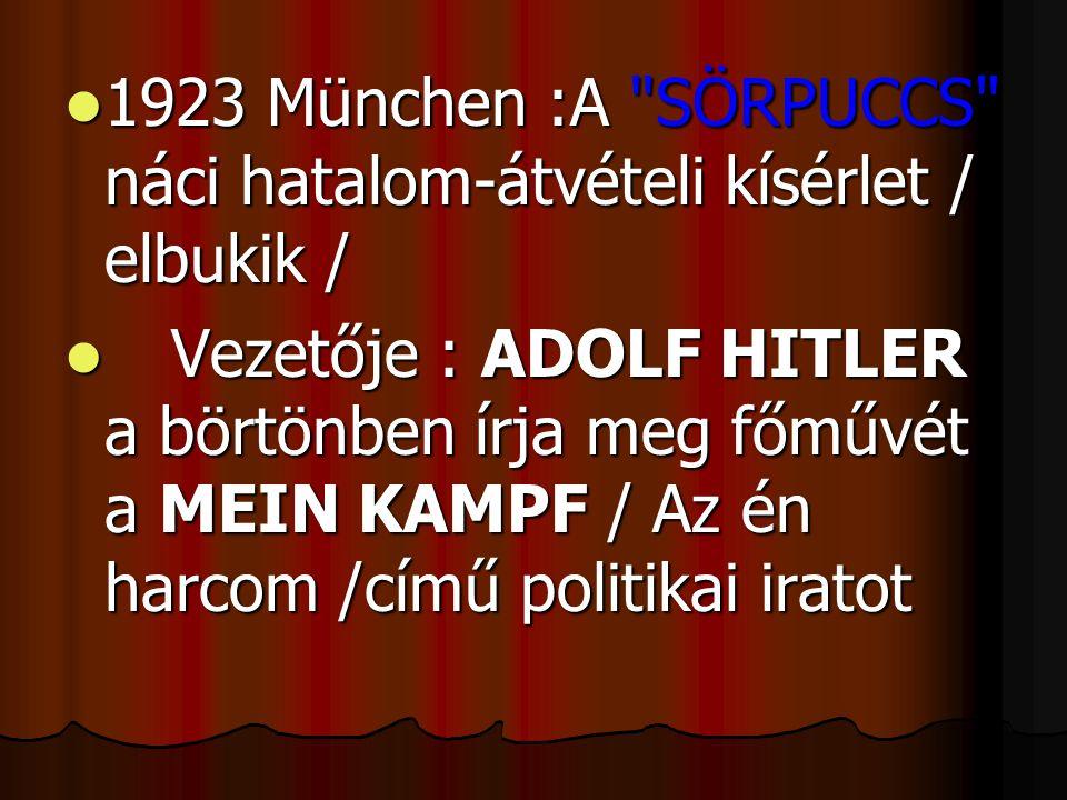 1923 München :A SÖRPUCCS náci hatalom-átvételi kísérlet / elbukik /