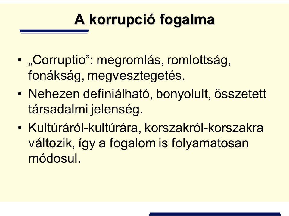 """A korrupció fogalma """"Corruptio : megromlás, romlottság, fonákság, megvesztegetés. Nehezen definiálható, bonyolult, összetett társadalmi jelenség."""