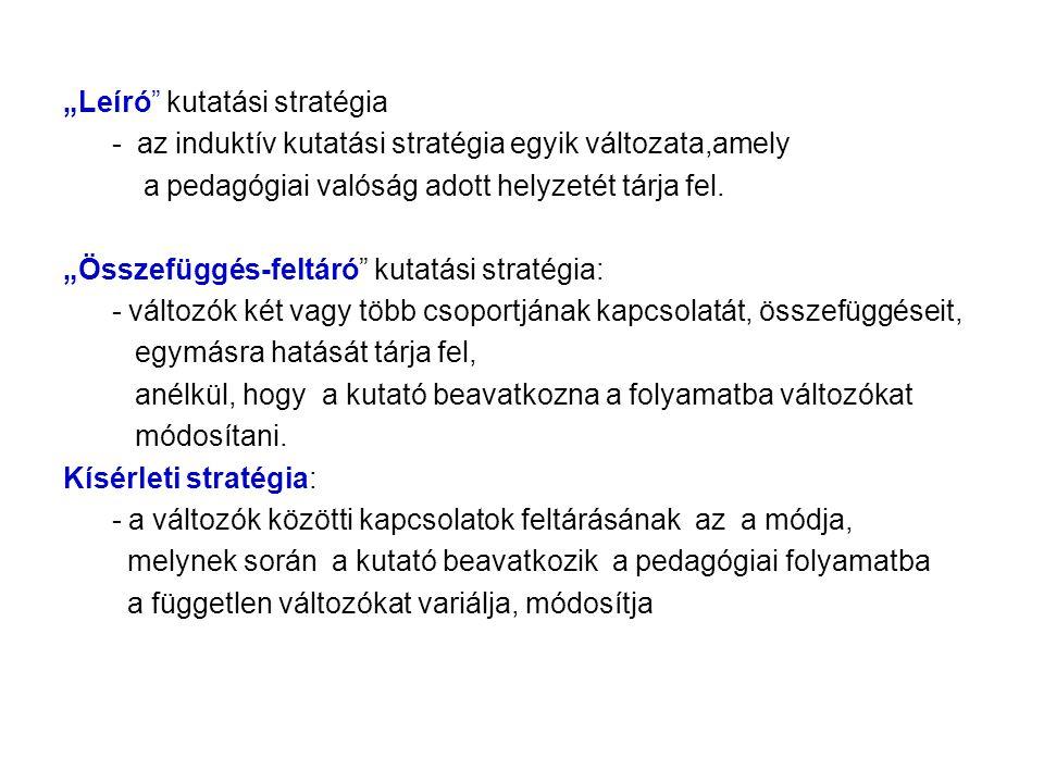 """""""Leíró kutatási stratégia"""