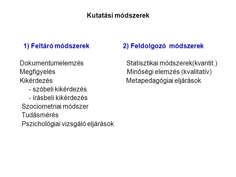 Kutatási módszerek 1) Feltáró módszerek 2) Feldolgozó módszerek.