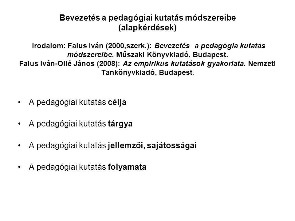 Bevezetés a pedagógiai kutatás módszereibe (alapkérdések) Irodalom: Falus Iván (2000,szerk.): Bevezetés a pedagógia kutatás módszereibe. Műszaki Könyvkiadó, Budapest. Falus Iván-Ollé János (2008): Az empirikus kutatások gyakorlata. Nemzeti Tankönyvkiadó, Budapest.