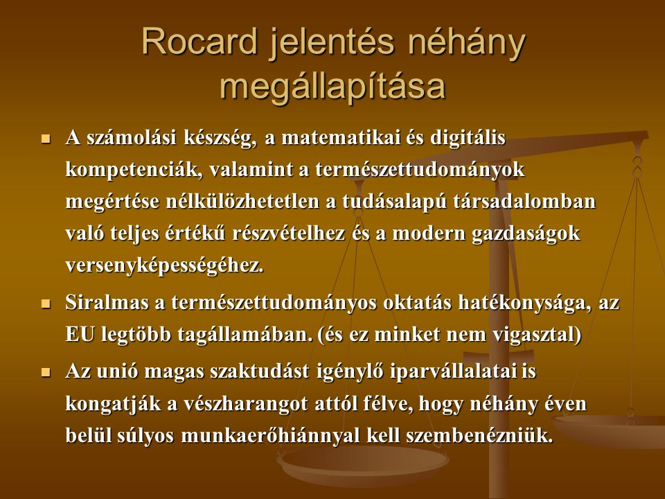 Rocard jelentés néhány megállapítása