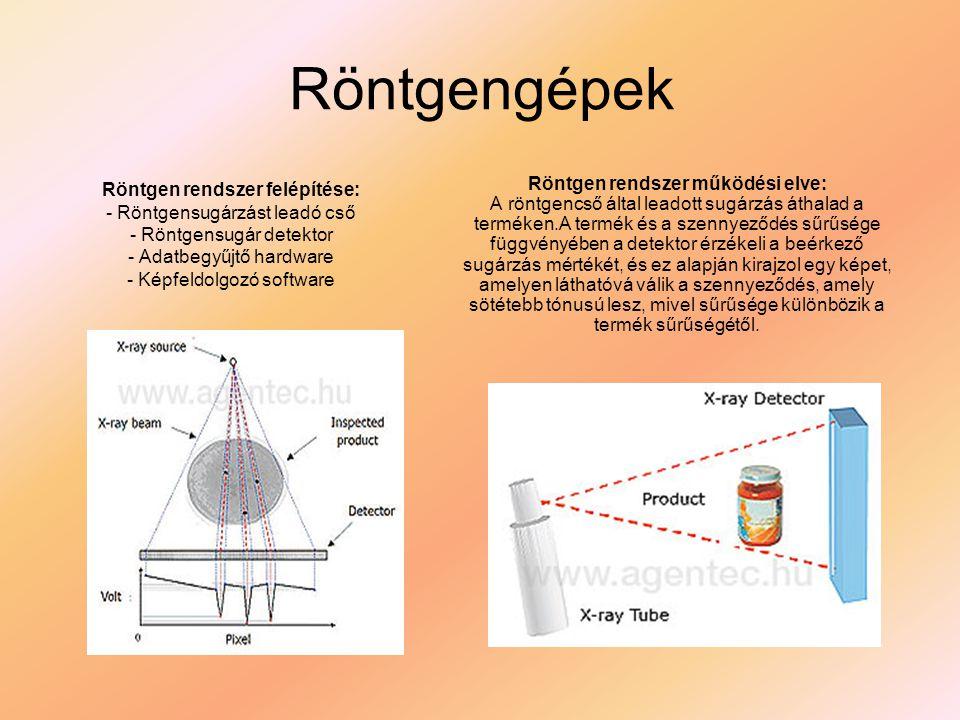 Röntgengépek Röntgen rendszer felépítése: - Röntgensugárzást leadó cső - Röntgensugár detektor - Adatbegyűjtő hardware - Képfeldolgozó software.
