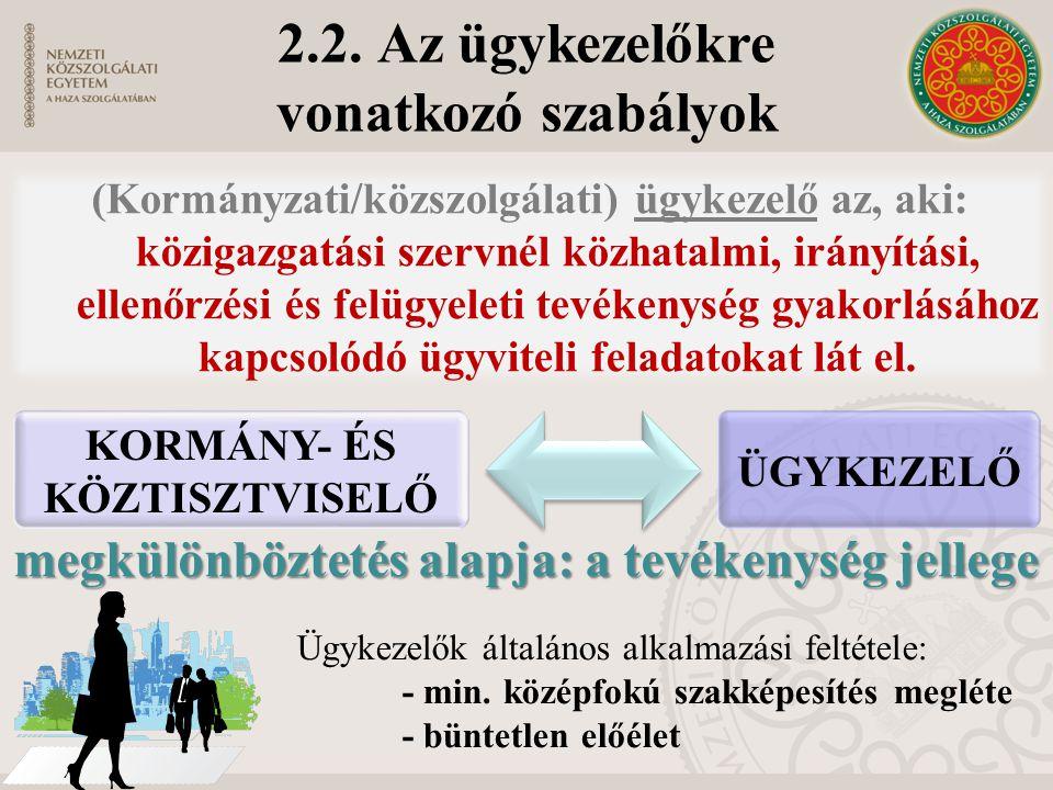 2.2. Az ügykezelőkre vonatkozó szabályok