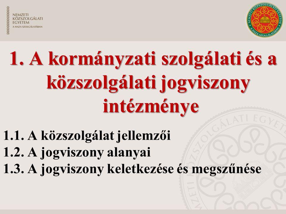 1. A kormányzati szolgálati és a közszolgálati jogviszony intézménye