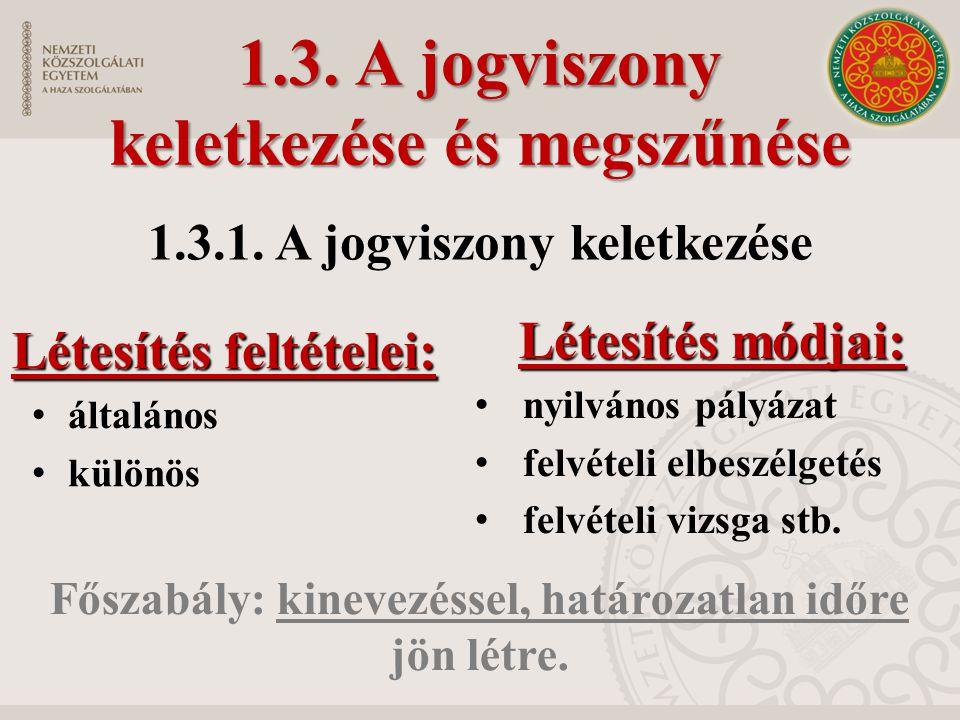 1.3. A jogviszony keletkezése és megszűnése