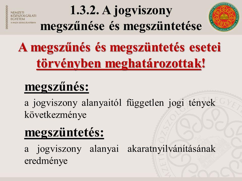 1.3.2. A jogviszony megszűnése és megszüntetése