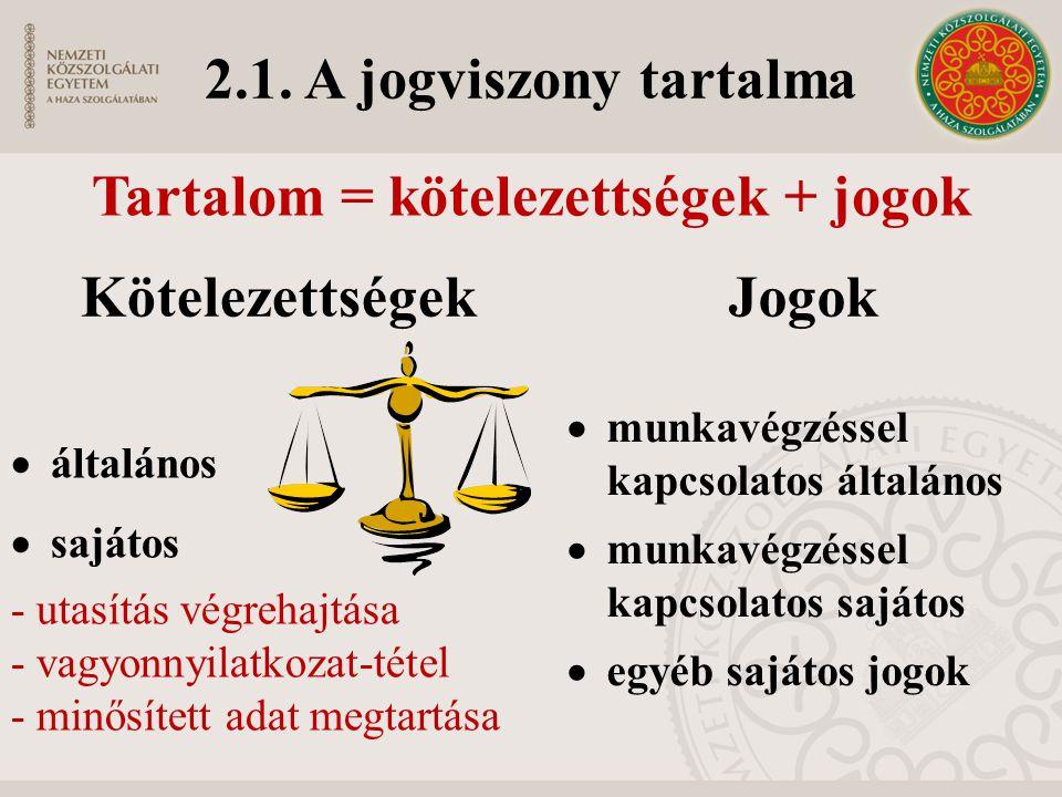 Tartalom = kötelezettségek + jogok