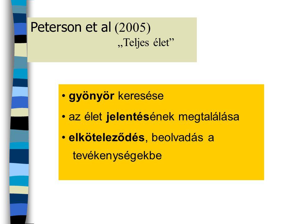 Peterson et al (2005) • gyönyör keresése