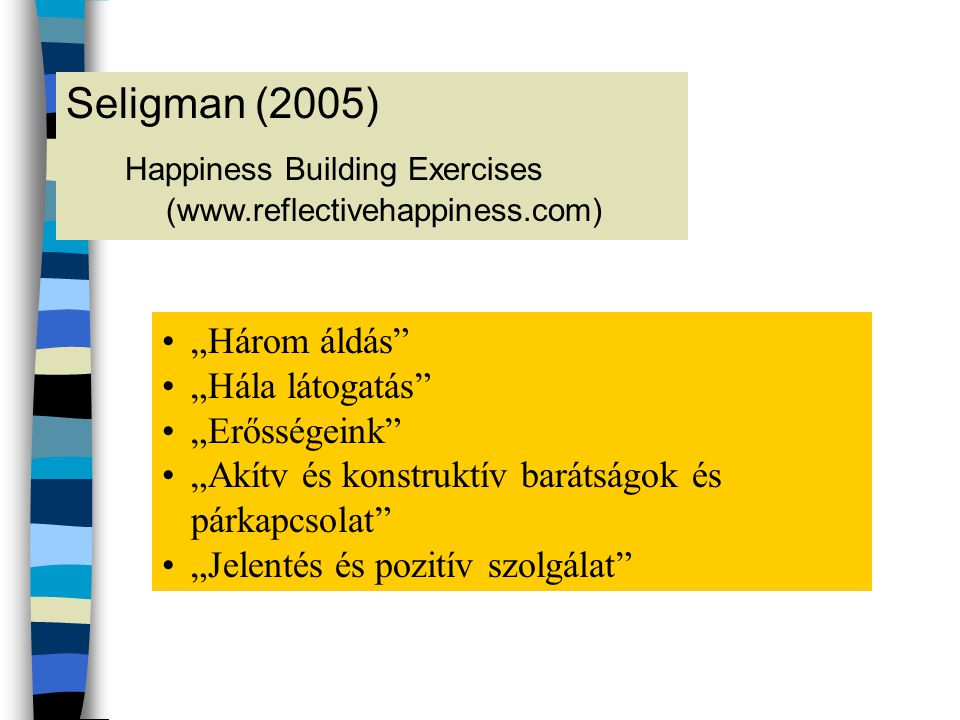 Happiness Building Exercises (www.reflectivehappiness.com)